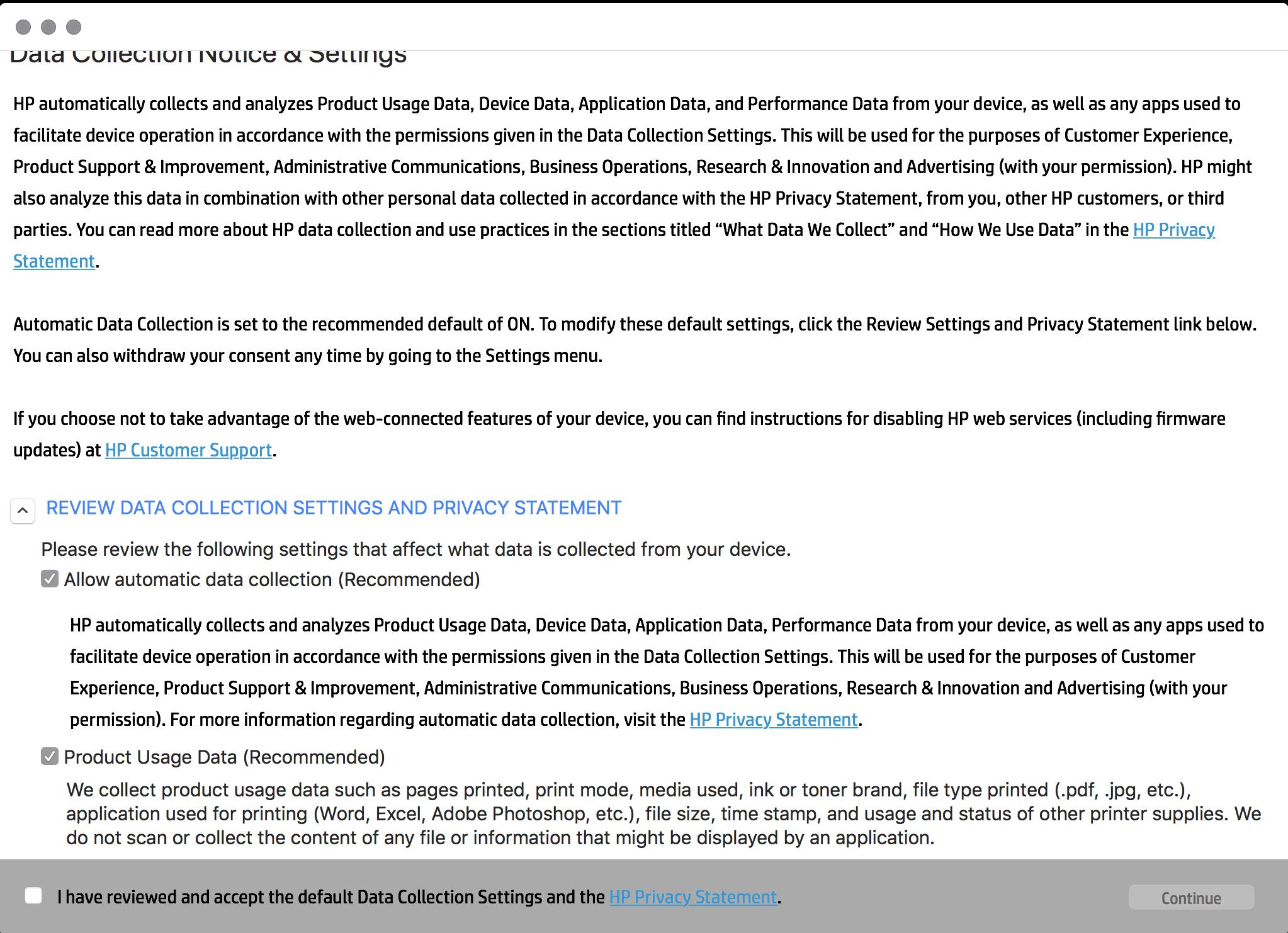 HP domyślna zgoda na zbieranie i przetwarzanie danych