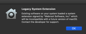 Apple OS Catalina 10.15.4 and Webroot