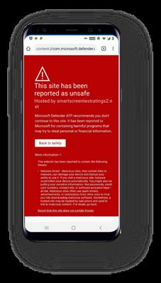 Microsoft Defender - blokuje niebezpieczną stronę