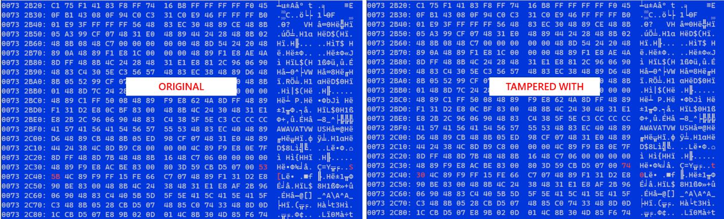 Porównanie oryginalnego i zmodyfikowanego pliku MsEdge.dll.