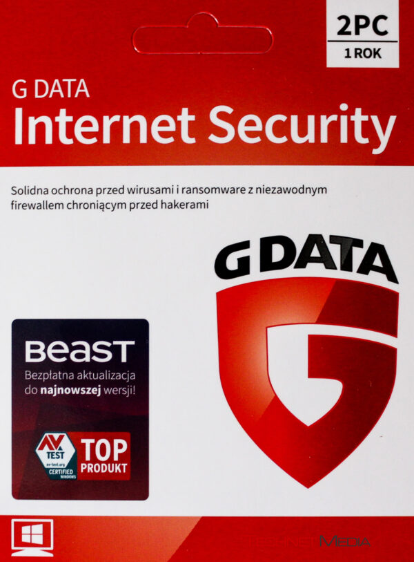 G DATA INTERNET SECURITY 2PC 1 ROK KARTA KLUCZ