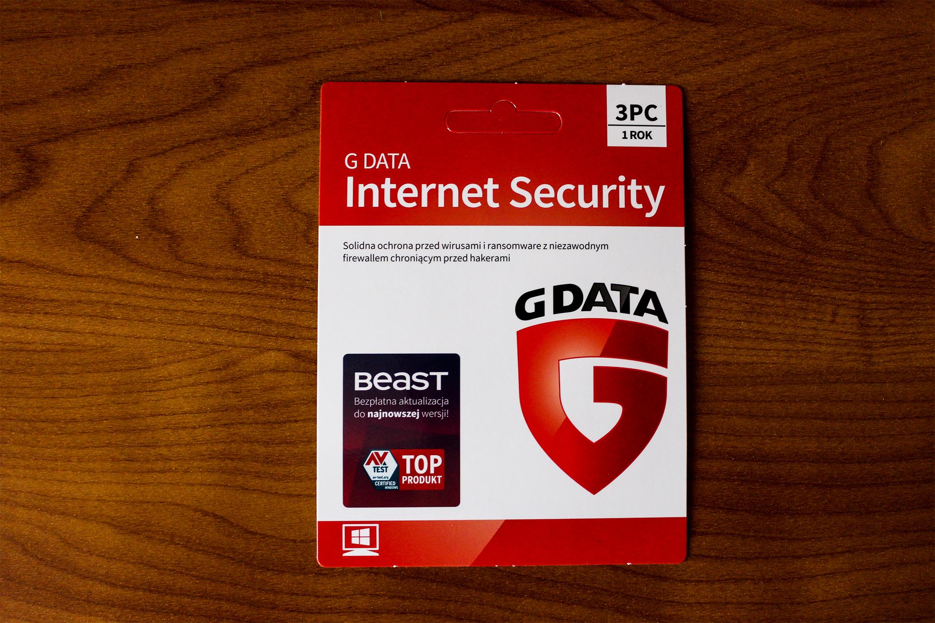 G DATA INTERNET SECURITY 3PC 1 ROK KARTA KLUCZ