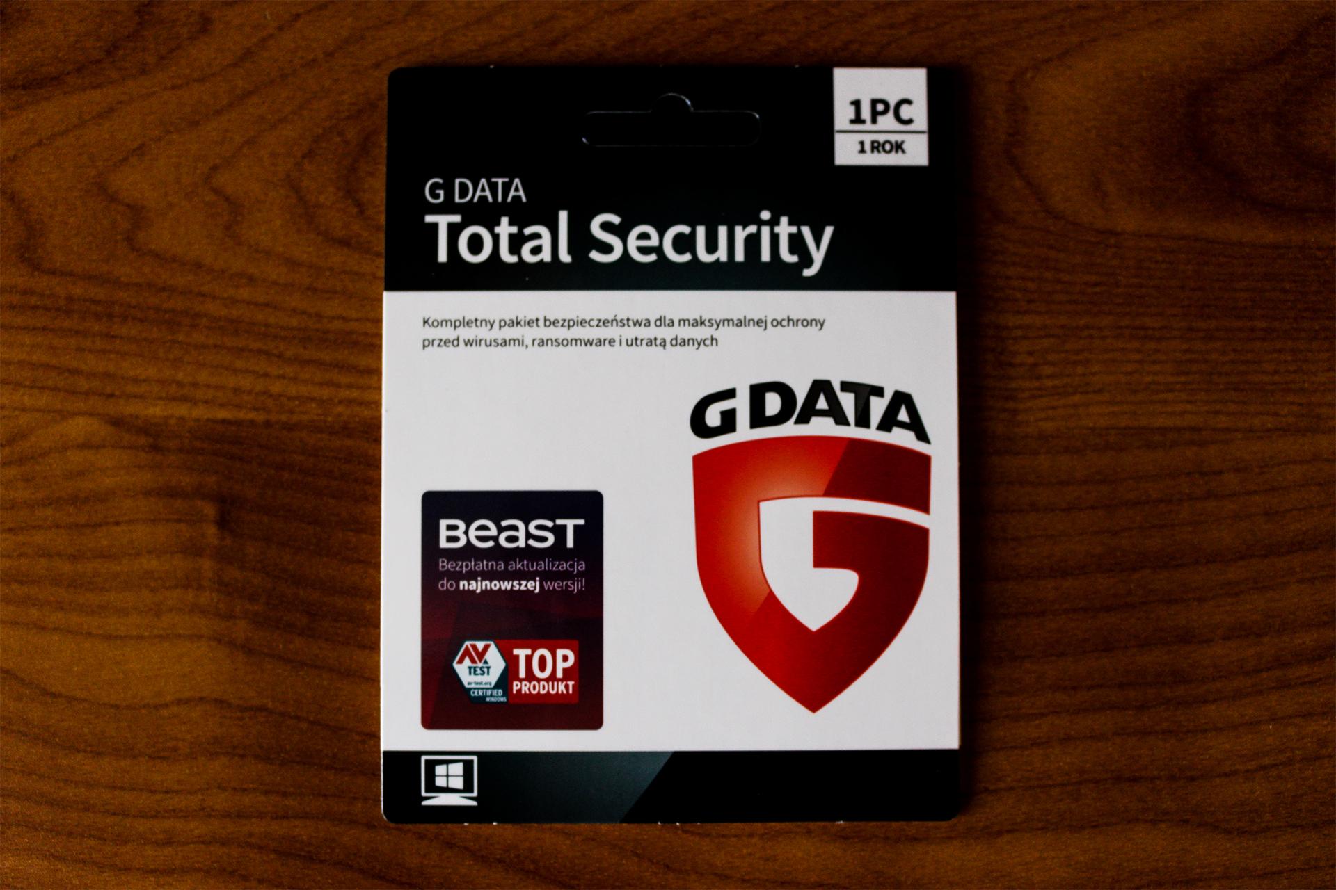 G DATA TOTAL SECURITY 1PC 1 ROK KARTA KLUCZ